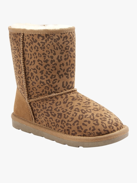 next Girls Brown Printed Synthetic High-Top Flat Boots
