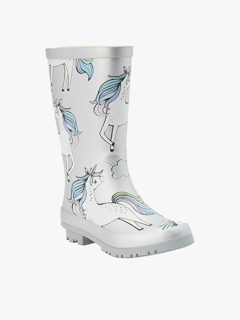 next Girls Silver-Toned Printed High-Top Flat Boots