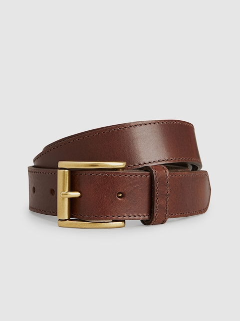 next Men Brown Solid Leather Belt
