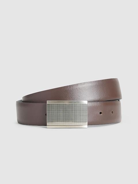 next Men Brown Solid Leather Belt