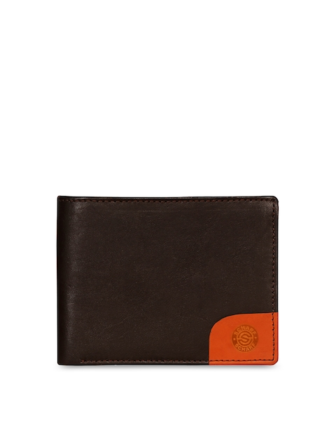 SCHARF Men Brown Colourblocked Two Fold Leather Wallet