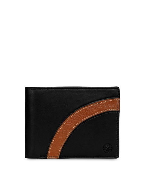 SCHARF Men Black & Brown Solid Leather Two Fold Wallet