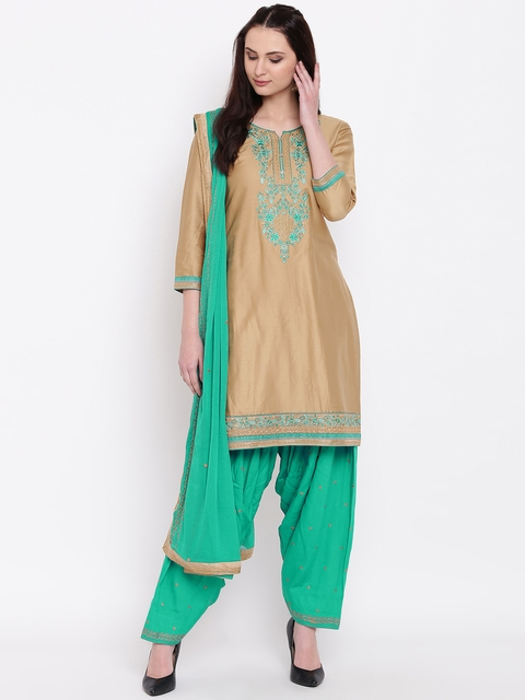 Kvsfab Beige & Green Cotton Blend Unstitched Dress Material