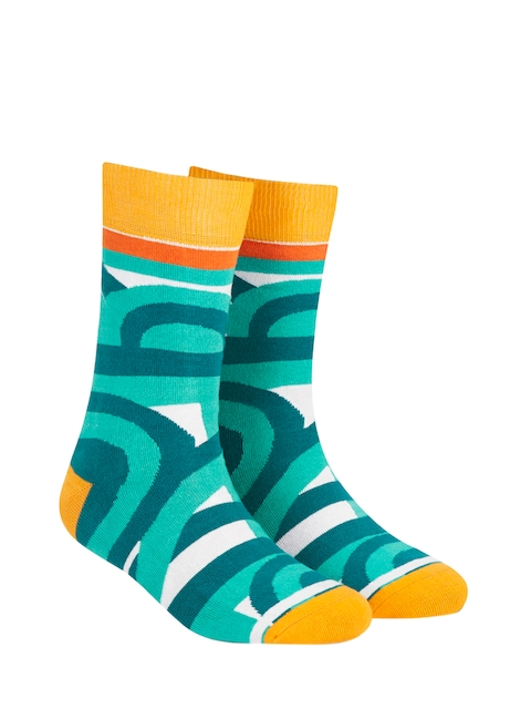 Dynamocks Unisex Green Patterned Calf-Length Socks