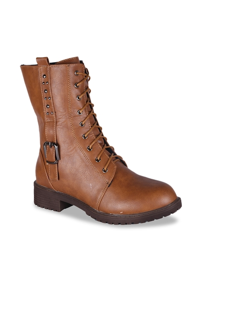 MSC Women Tan Brown Solid Synthetic High-Top Flat Boots