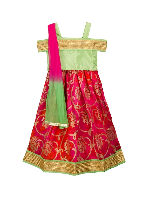KID1 Girls Green & Red Solid Made to Measure Lehenga & Blouse with Dupatta
