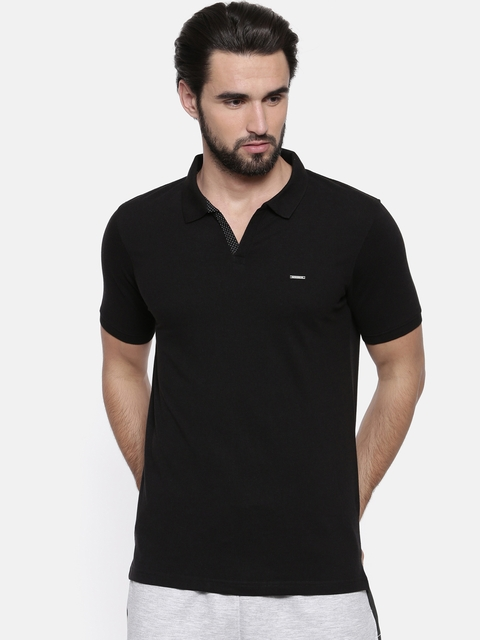 Proline Men Black Solid Polo Collar T-shirt