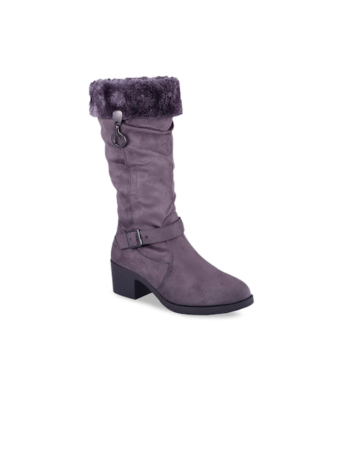 MSC Women Grey Solid High-Top Flat Boots