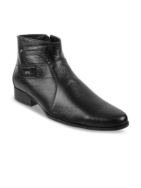 Mochi Men Black Leather Flat Boots