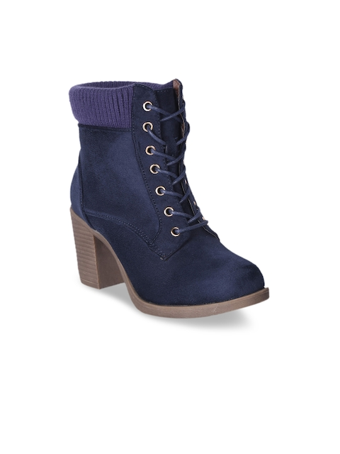 MSC Women Navy Blue Solid Suede Heeled Boots