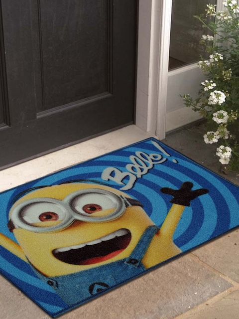 Disney Athom Trendz Blue & Yellow Minion Printed Anti-Skid Doormat