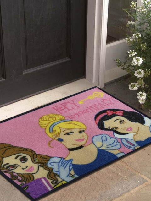 Disney Athom Trendz Pink & Multicoloured Princess Printed Anti-Skid Doormat