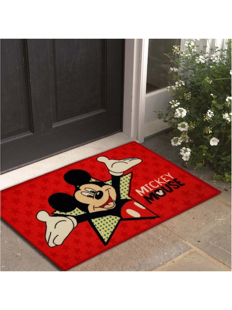 Disney Athom Trendz Red & Black Mickey Mouse Printed Anti-Skid Doormat