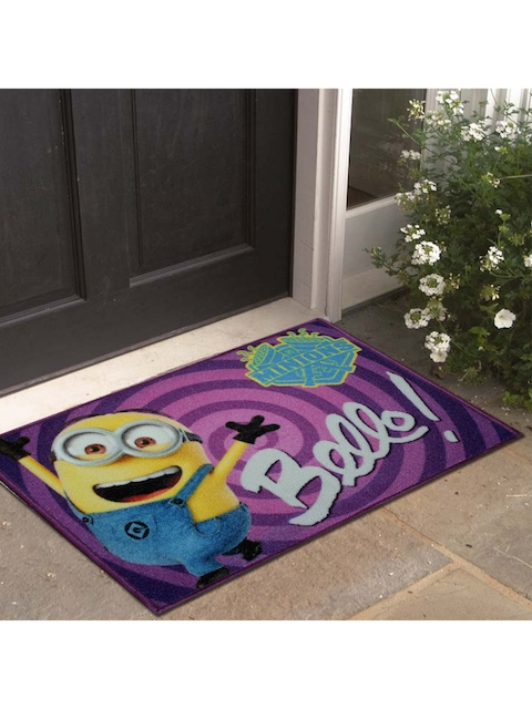 Disney Athom Trendz Purple & Multicoloured Printed Anti-Skid Doormat