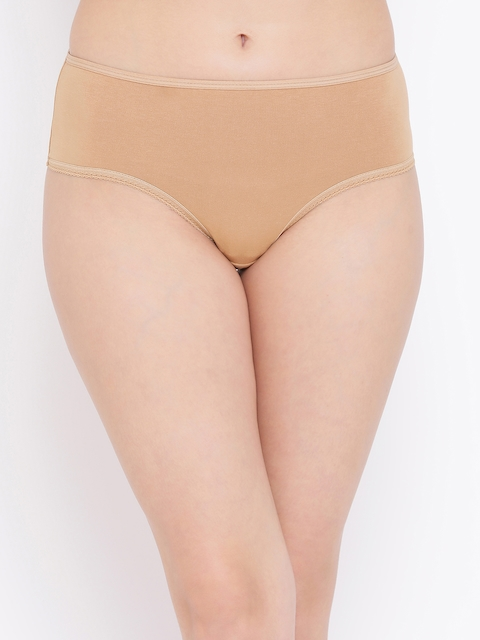 Clovia Women Nude-Coloured Solid Hipster Brief PB0005P24XS