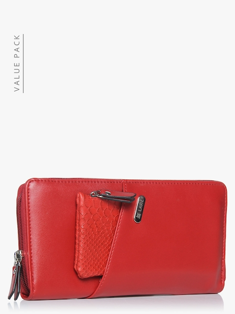 Lavie Women Red Solid Zip Around Wallet