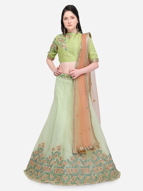 Aasvaa Green & Coral Pink Semi-Stitched Lehenga & Unstitched Blouse with Dupatta