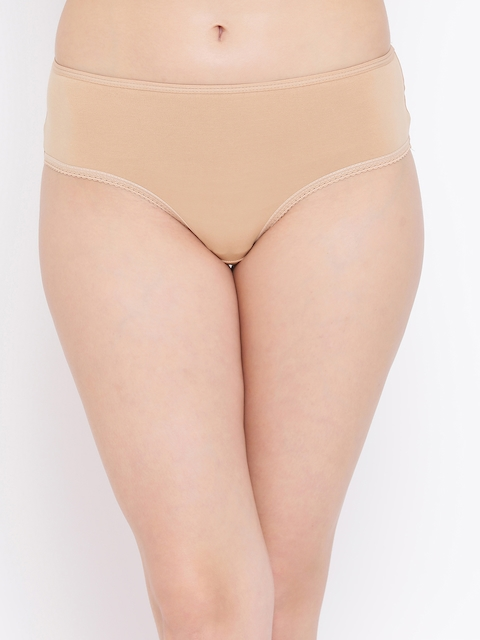 Clovia Women Nude-Coloured Solid Hipster Brief PB0002P24XS