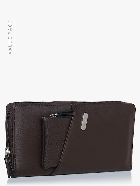 Lavie Women Brown Solid Zip Around Wallet