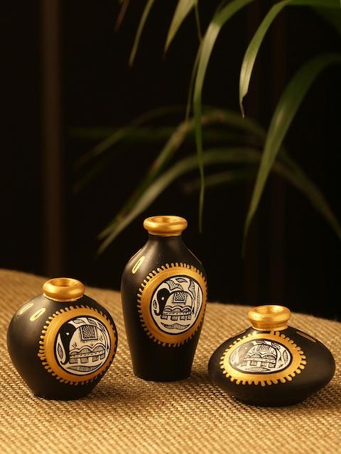 ExclusiveLane Set of 3 Black & Gold-Toned Madhubani Hand-Painted Teracotta Vase