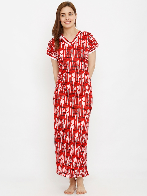 Pretty Awesome Red & White Printed Maternity Nightdress