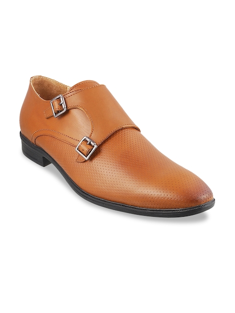 Metro Men Tan Brown Leather Formal Monk Shoes