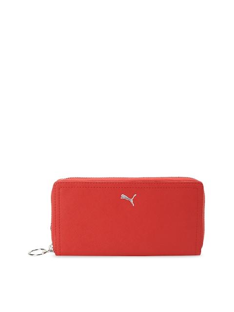 Puma Women Red Solid Zip Around Wallet