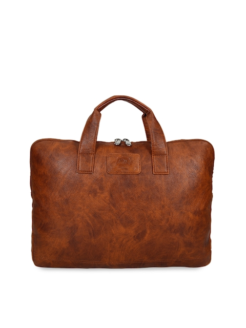 Leather World Unisex Tan Brown Solid Laptop Sleeve