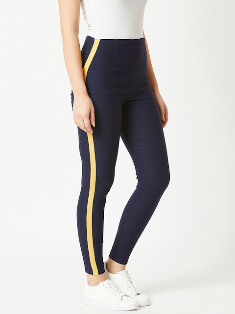 Miss Chase Women Navy Blue Solid Skinny-Fit Jeggings