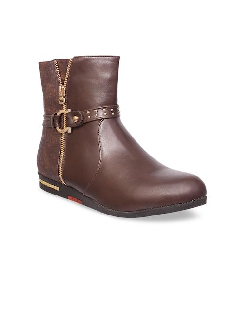 MSC Women Brown Solid Mid-Top Flat Boots