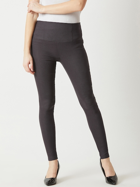 Miss Chase Women Charcoal Grey Solid Skinny-Fit Jeggings