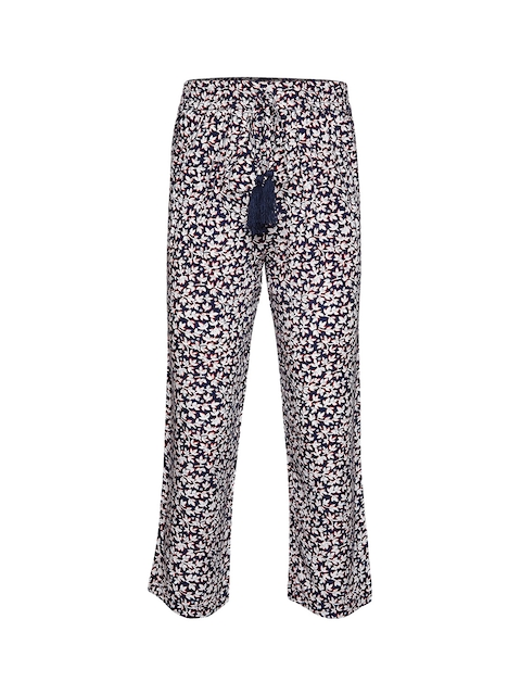 Oxolloxo Girls Navy Blue & White Regular Fit Printed Parallel Trousers