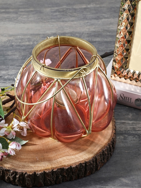 Pure Home and Living Pink & Gold-Toned Lantern
