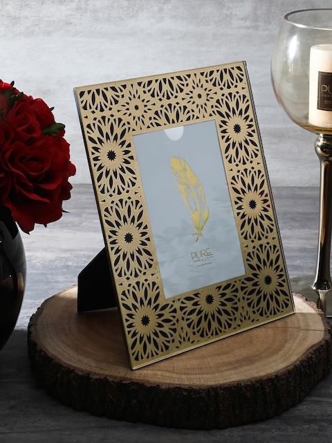 Pure Home and Living Black & Gold-Toned Printed Photo Frame