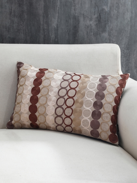 Pure Home and Living Beige Set of Single Geometric Rectangle Cushion Covers