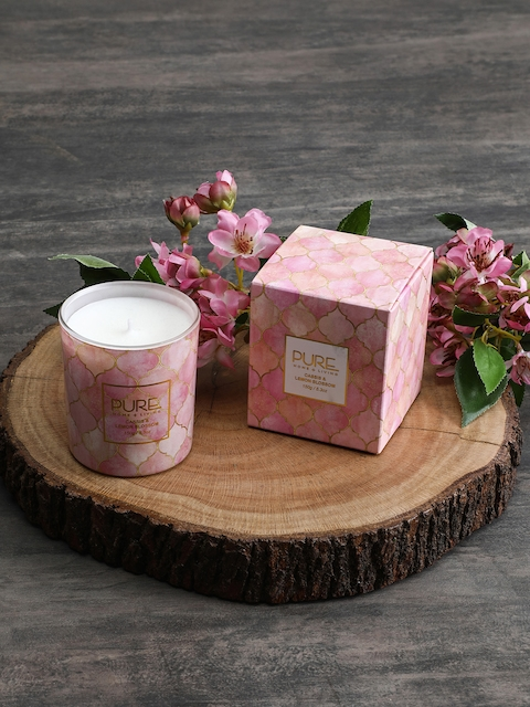 Pure Home and Living Pink Aromatic Glass Jar Candle