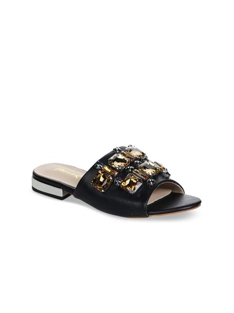 Aber & Q Women Black Embellished Open Toe Flats