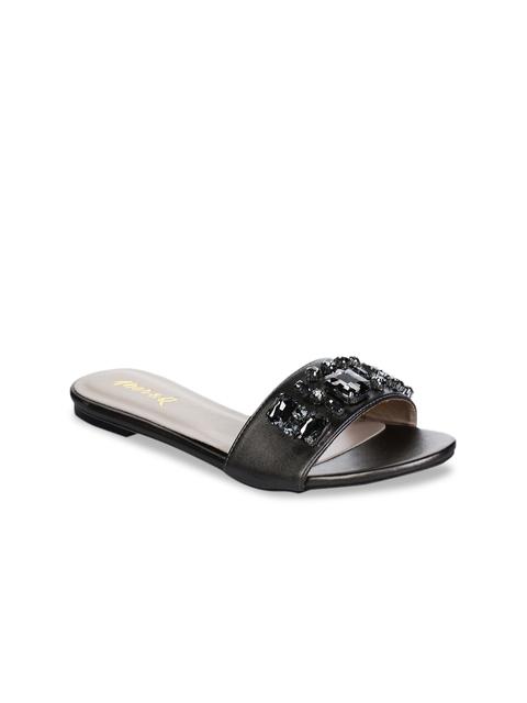 Aber & Q Women Black Solid Open Toe Flats