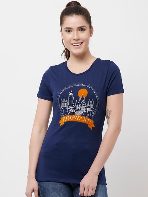 Harry Potter Women Navy Blue Hogwarts Printed Round Neck T-shirt