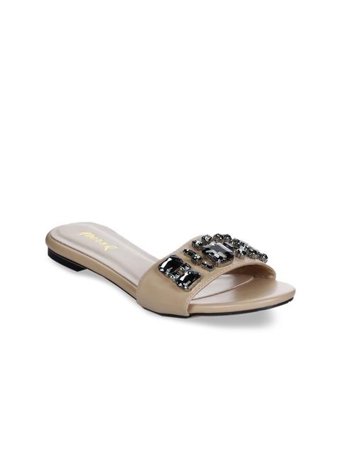Aber & Q Women Beige Embellished Open Toe Flats