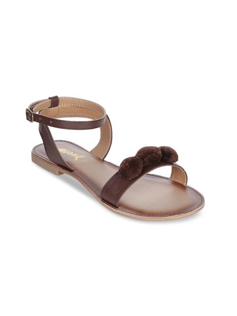 Aber & Q Women Tan Solid Open Toe Flats