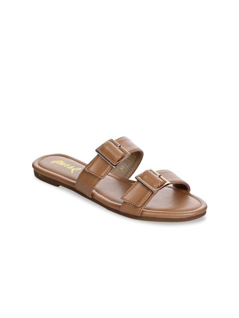 Aber & Q Women Tan Brown Solid Open Toe Flats