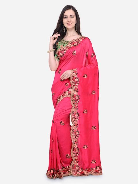 RIYA Pink & Green Poly Silk Embroidered Saree