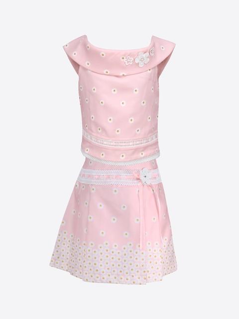 CUTECUMBER Girls Pink Printed Top with Skirt