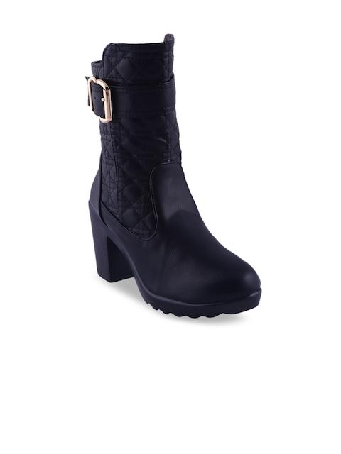 MSC Women Black Textured Heeled Boots