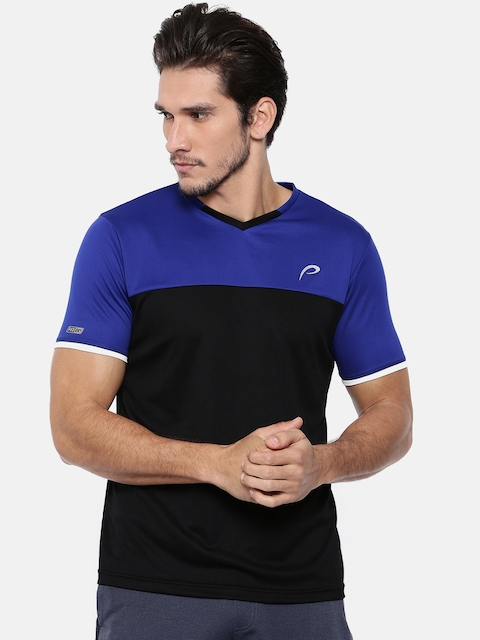 Proline Men Black Colourblocked V-Neck T-shirt