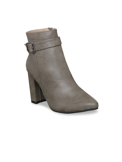 MSC Women Taupe Solid Heeled Boots
