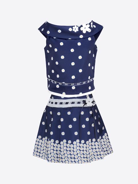 CUTECUMBER Girls Navy Blue Printed Top with Skirt