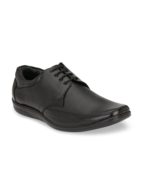 Fentacia Men Black Leather Formal Derbys