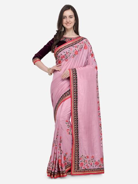 RIYA Pink Embroidered Poly Silk Saree